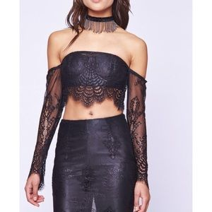NWT • Asilio • Icon Obsession Crop Top Lace Black